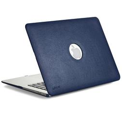 Kuzy AIR 13-inch Navy BLUE Leather Hard Case for MacBook Air
