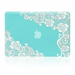 Kuzy Hard Shell Cover for 13 inch MacBook Air Case Lace Turq